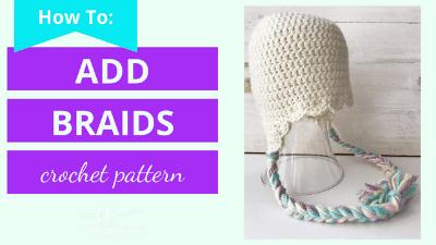 how to add braids to a crochet beanie
