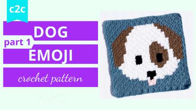 crochet dog emoji c2c tutorial