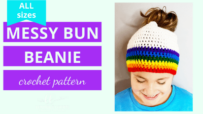 messy bun beanie hat crochet pattern tutorial