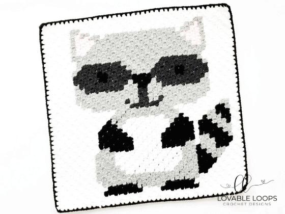 corner to corner raccoon crochet pattern