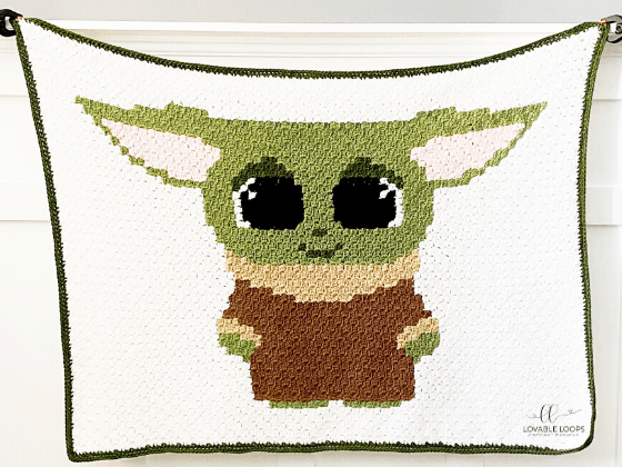 corner to corner baby yoda crochet pattern
