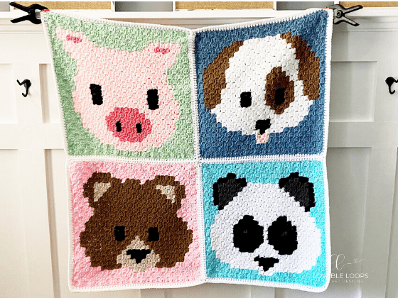 Animal Emoji Blanket c2c Free Crochet Pattern