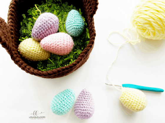 easter basket and easter eggs free crochet pattern