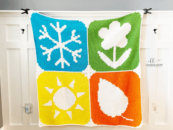 four seasons winter spring summer fall c2c blanket free crochet pattern