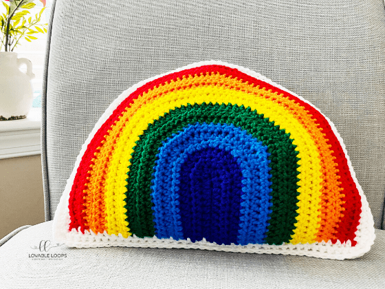 rainbow pillow free crochet pattern
