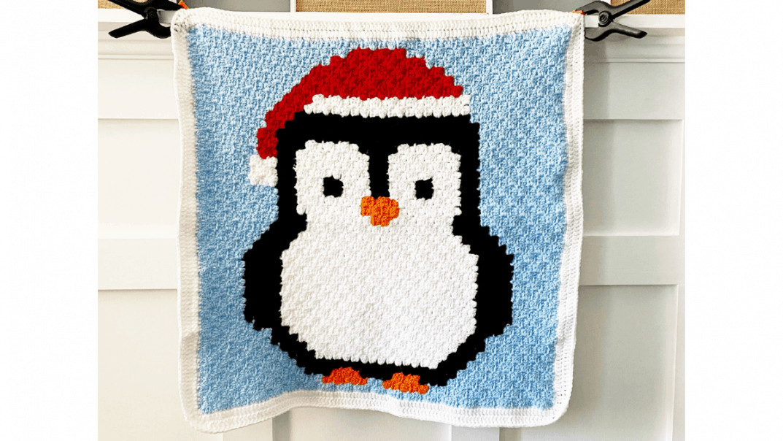 Crochet Penguin Christmas C2c Baby Blanket Lovable Loops