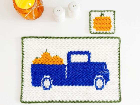 fall placemat set crochet pattern
