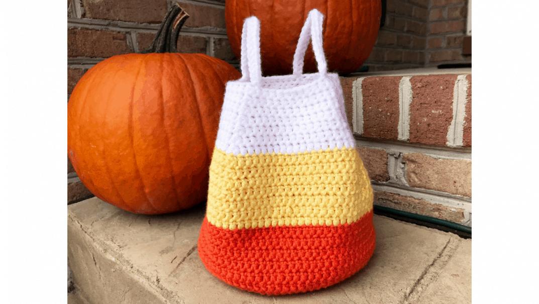 candy corn bag crochet pattern
