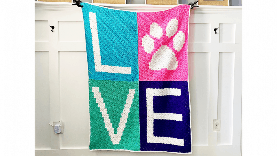 paw print love blanket crochet pattern