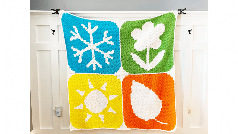 winter spring summer fall blanket free crochet pattern