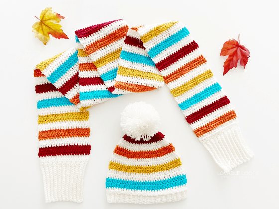 fall fling hat and scarf set crochet pattern free