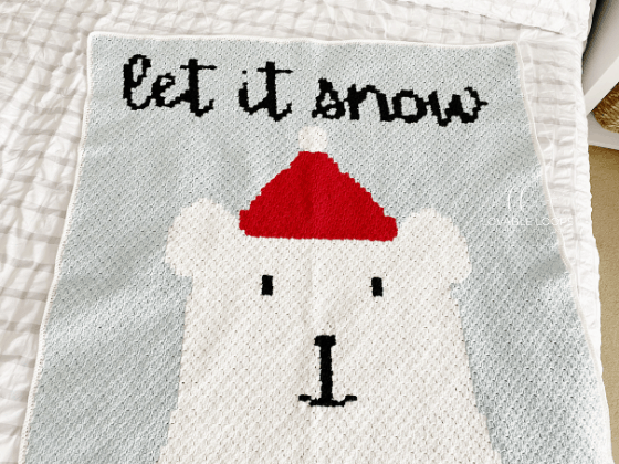 let it snow polar bear blanket crochet pattern free