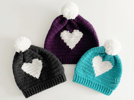 hdc heart hat beanie crochet pattern free