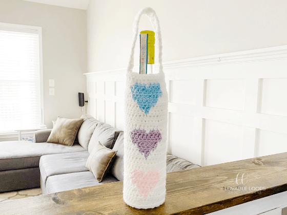 heart wine bag crochet pattern