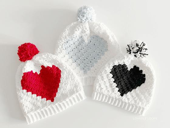 c2c heart hat beanie crochet pattern free