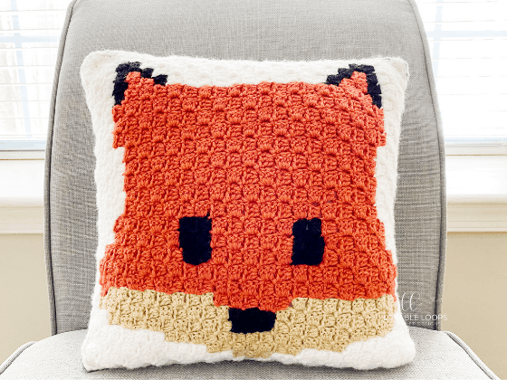 fox pillow c2c crochet pattern