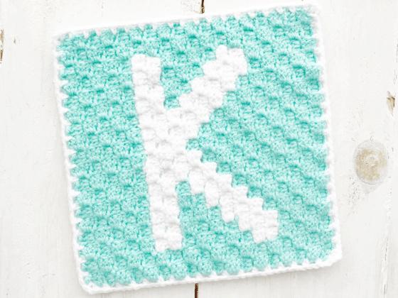 corner to corner letter k crochet pattern