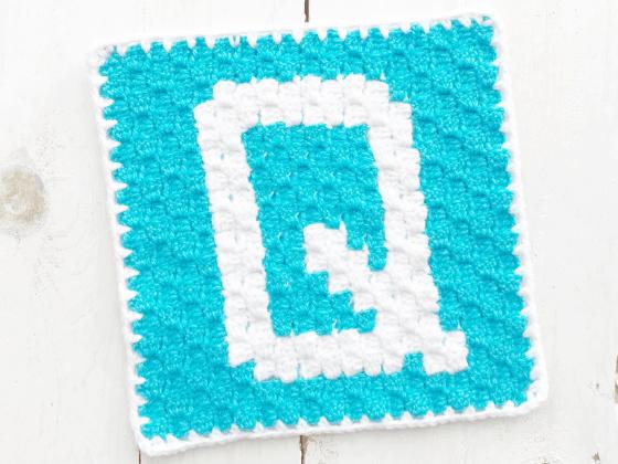 corner to corner letter q crochet pattern
