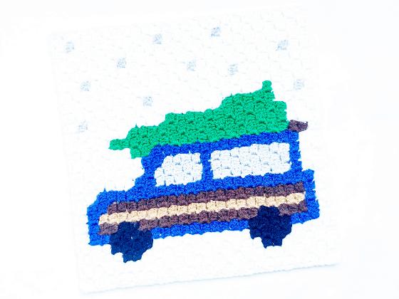 corner to corner christmas wagon with tree house crochet pattern
