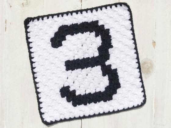 corner to corner number three crochet pattern