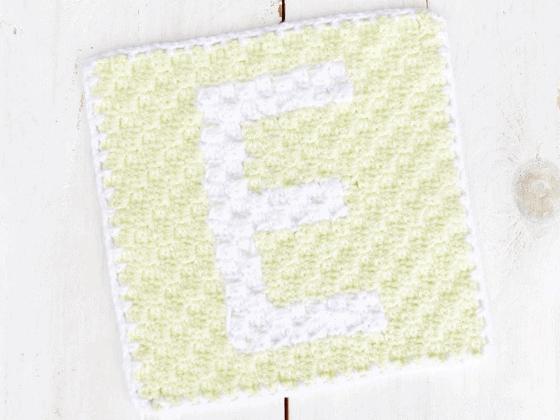 corner to corner letter e crochet pattern