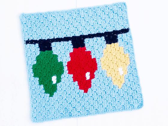 corner to corner christmas lights crochet pattern