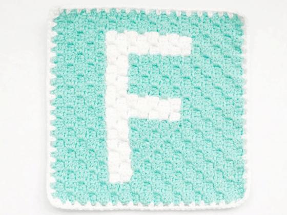 corner to corner letter f crochet pattern