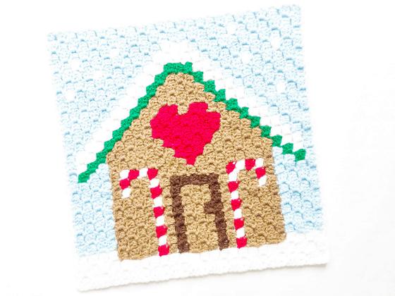 corner to corner gingerbread house crochet pattern