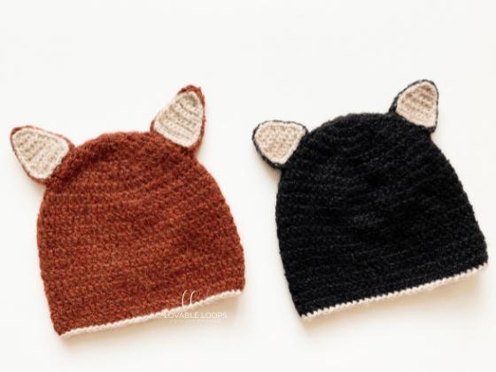 cat and fox hat crochet pattern free